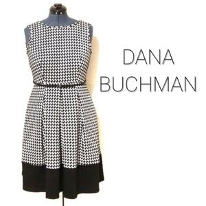 Pleated Houndstooth Fit Flare Belted Dress EUC